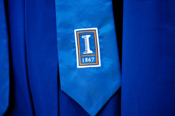 Illinois graduates' stole with the Block I